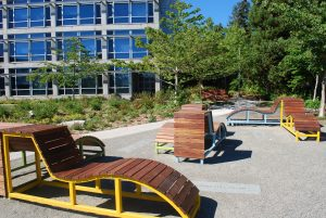 Mobile wood chairs, built by the Design Build Landscape Architecture students.