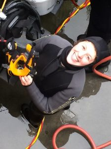 Jenny in her scuba gear at the Seattle Aquarium