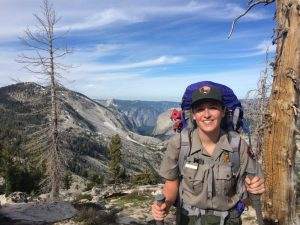 Emily Noyd in her office, Yosemite National Park