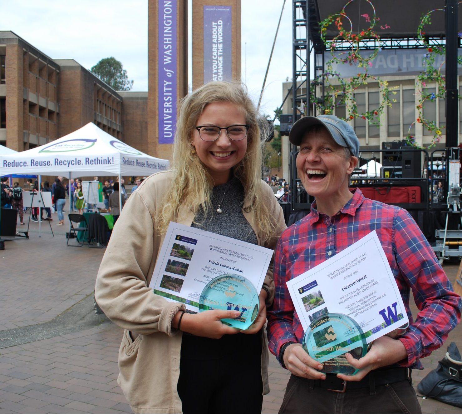 2018 Husky Green Award winners Frieda Cohan and Elizabeth Wheat