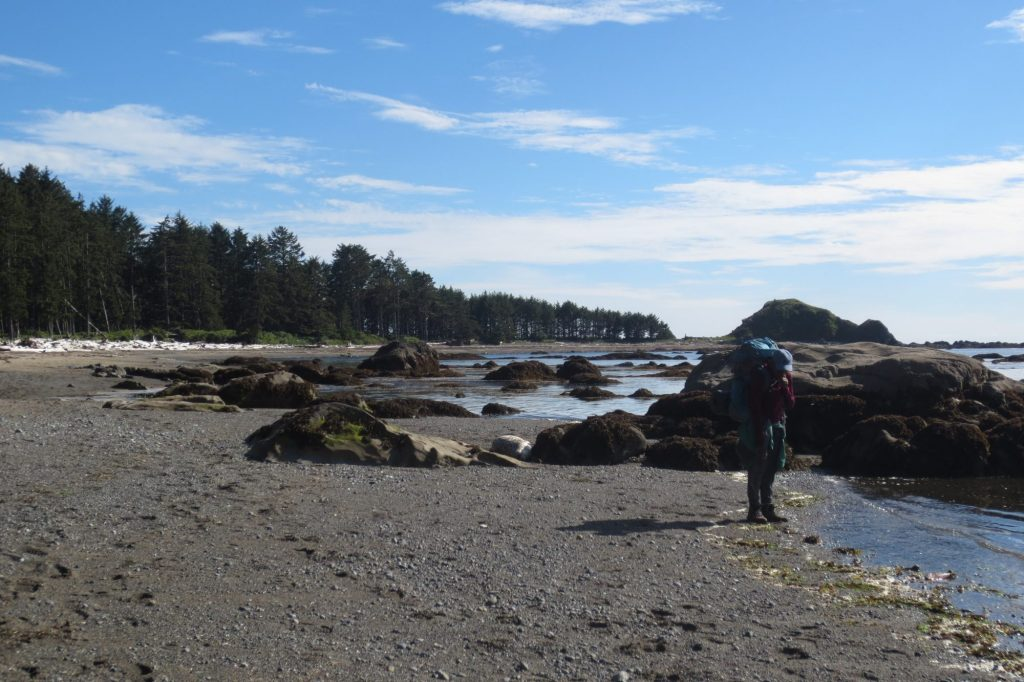 Corina on a Y-WE backpacking trip from Cape Alava to Sand Point on the Ozette Triangle.