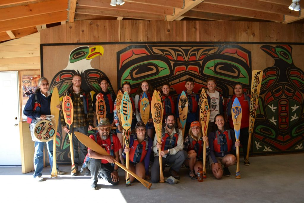 "The UW group (Tim Billo and his Wilderness management class) and Hoonah ""pullers"" preparing to paddle out of Port Frederick in Hoonah."